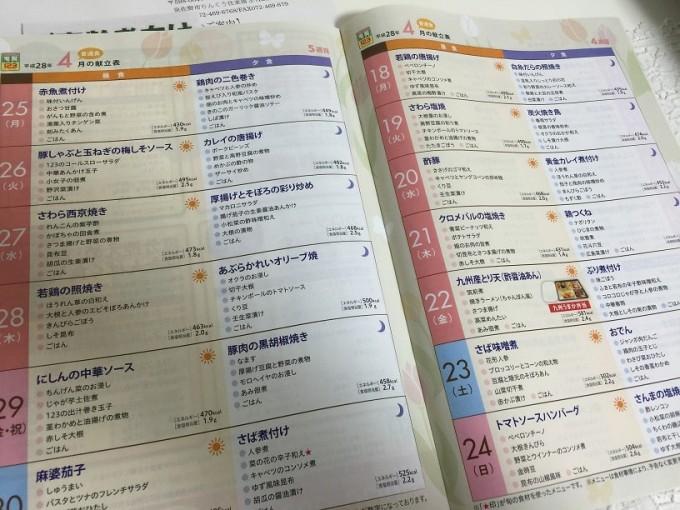 宅配COOK123の献立表