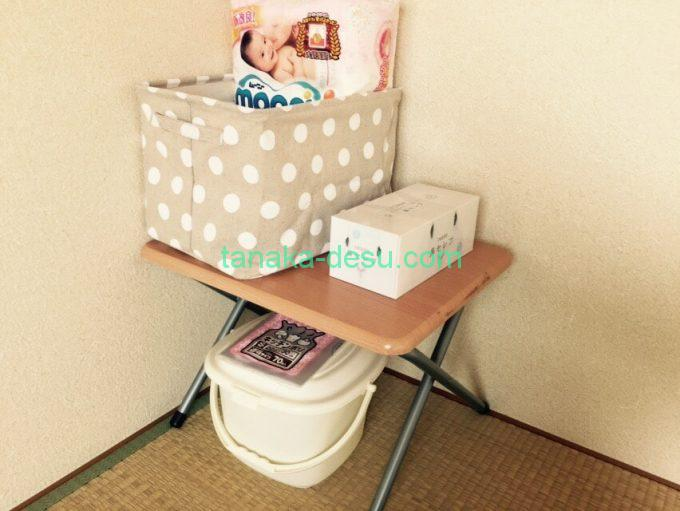 寝室のオムツボックス