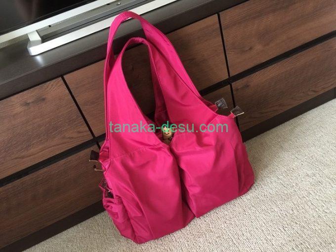 ピンクのマザーズバッグ