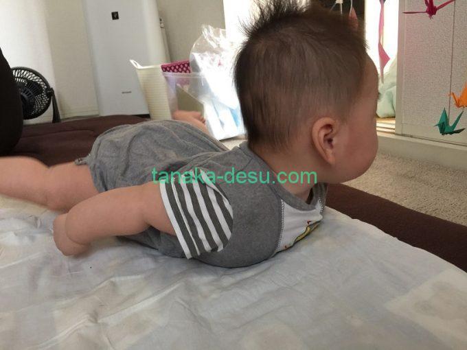 うつ伏せの生後4ヵ月の赤ちゃん