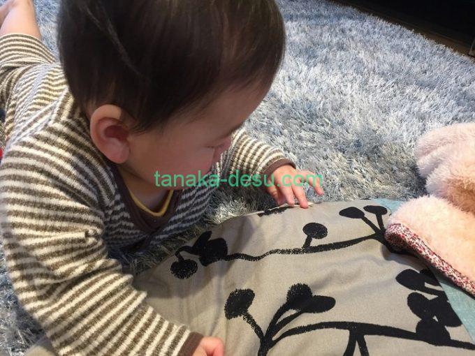 座布団のタグを触る赤ちゃん