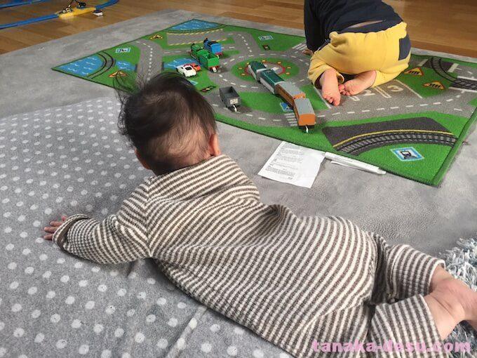 お兄ちゃんが遊ぶのを見る4ヶ月の妹